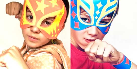 Akira and Harvey in paper Lucha Libre masks. Templates, cutouts and patterns!