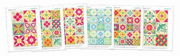 Printable talavera tile templates: Printable papercraft Ceramic style ceramica tiles