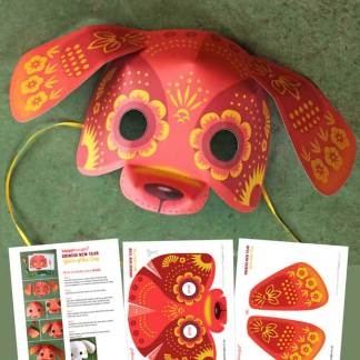 Templates and instructions: Chinese new year dog mask to make at home