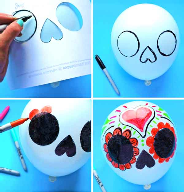 Color in your own balloon calavera skull instructions and templates