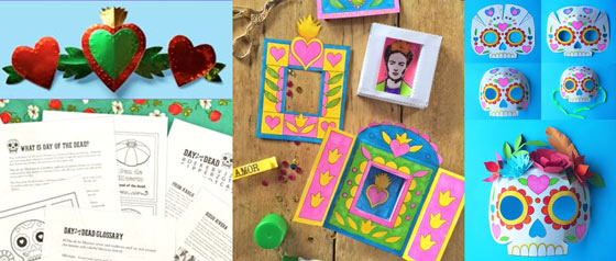 El dia de los muertos craft activity pack in English and Spanish for parents and teachers.