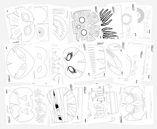 DIY Halloween mask templates: Cat, Witch, Mummy, Calavera, Pumpkin, Cyborg, Vampire, Alien, Frankenstein or Bat mask!