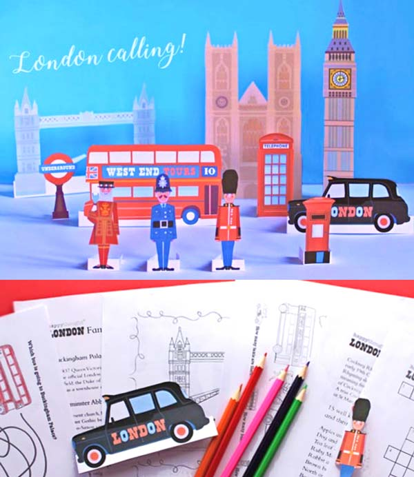 London calling prinable paper craft color in project and worksheets!