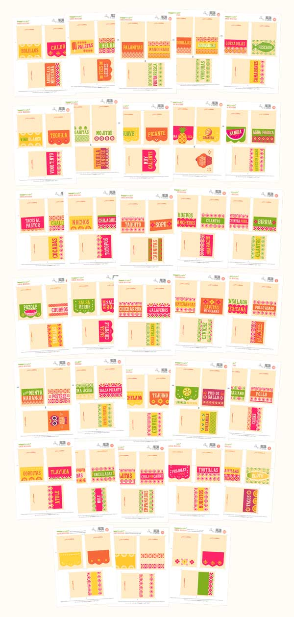 99 DIY Mexican food and drink display cards to print out for fiestas!