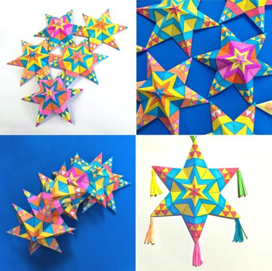 Print and make your own Mexican paper star for home and classroom decorations!