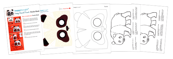 Panda worksheets: 3D DIY mask, color in sheet and 6 panda animal facts!