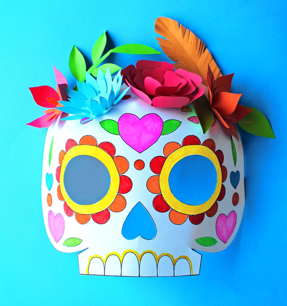 Day of the Dead sugar skull craft: color in calavera mask template!