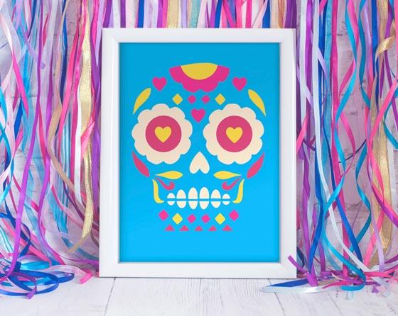 Calavera sugar skull print: El dia de los muertos or day of the dead calavera framed print