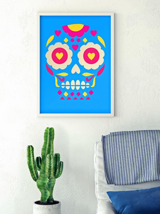 El Dia de los Muertos prints of a calavera or sugar skull