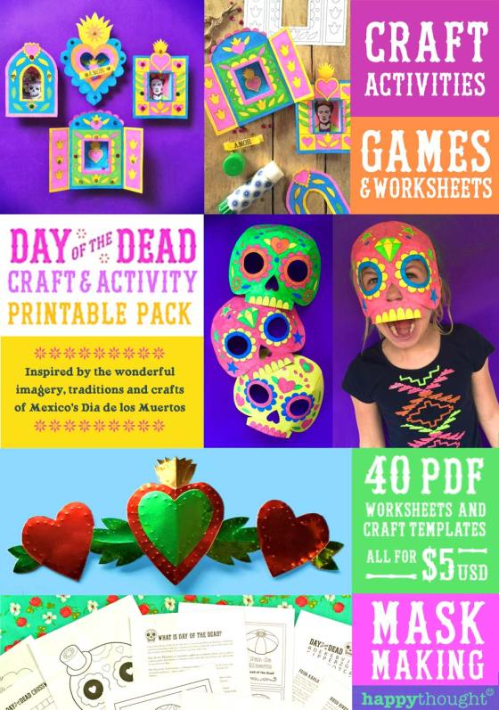 Easy assemble DIY Day of the Dead printable craft templates!
