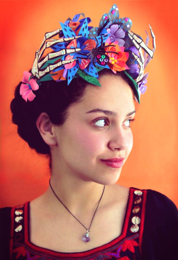 Paper flower crown for Day of the Dead or El Dia de los Muertos