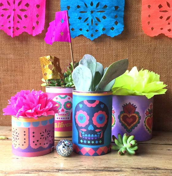 Day of the Dead or El Dia de los Muertos tin can labels and printables