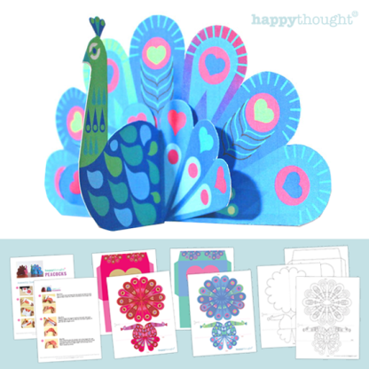 Peacock craft template - Affordable easy make paper peacock.