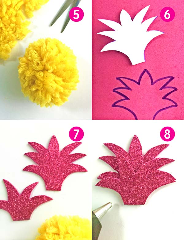 Easy to make red and yellow tropical pineapple. Great classroom craft activty
