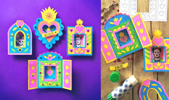 Easy to make Mexican nichos with box shadow frames: Craft activity idea!