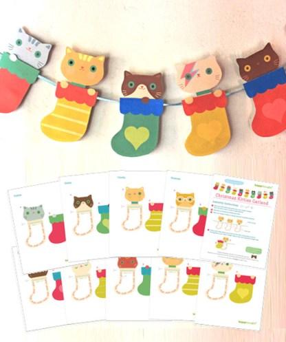 Christmas Kittens in socks garland template decoration idea!
