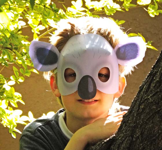 Koala mask PDF to print at home. 12 Animal mask templates to download!