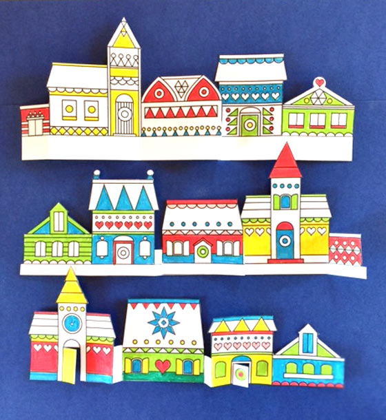 Paper crafts village color-in printables: Happythought Holiday craft activity pack!