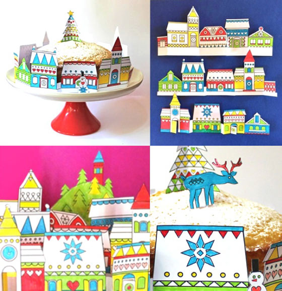 Paper craft festive village decoration template - Happythought Holiday craft activity pack!