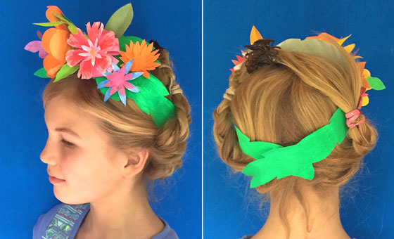 Front and back of papercraft headband with paper flowers!