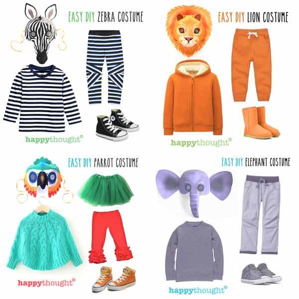 Wild animal masks: Lion, Hippopotamus, Elephant, Snake, Giraffe, Tiger, Monkey, Leopard, Crocodile and Zebra.