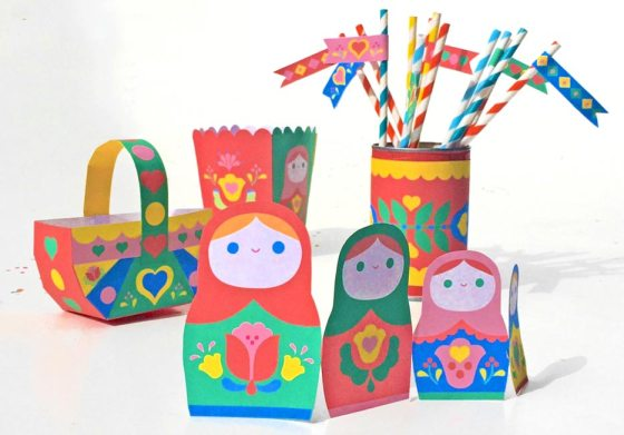 Homemade Russian stacking dolls party decorations!
