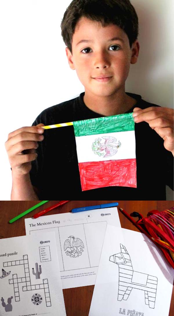 Simple 5 de Mayo or Cinco de Mayo worksheet ideas and coloring in sheets