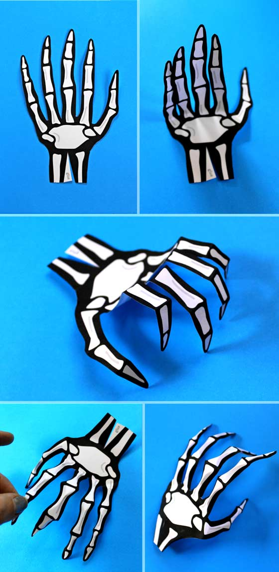 Halloween costume accessories. How to make paper skeleton hands. Free template + instructions!