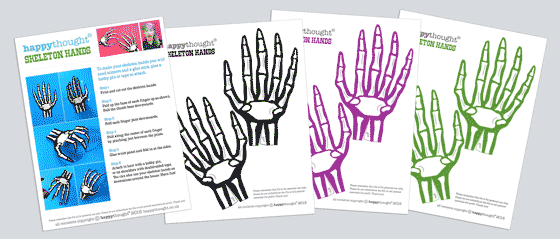 image about Hand Printable titled Halloween costumes: Print a paper skeleton hand quickly!