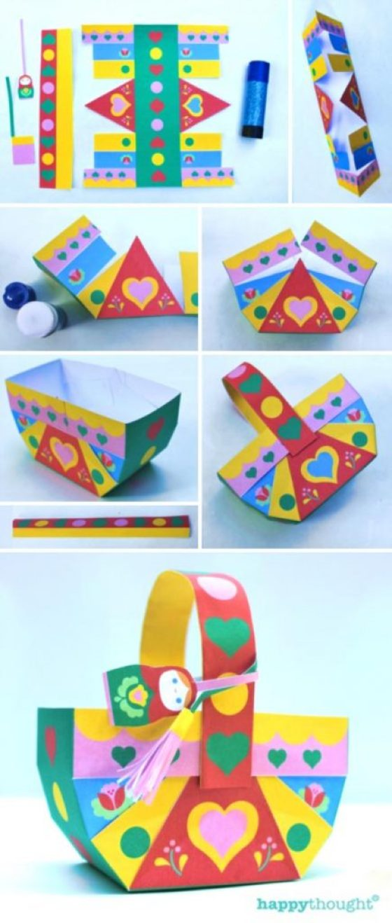 How to make a paper basket instructions and template!