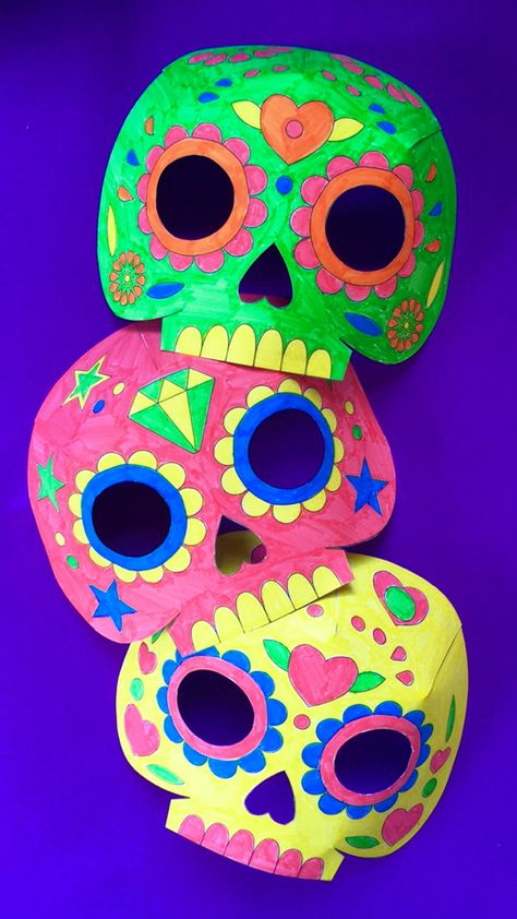 Day of the dead party ideas color in calavera masks activity for Day of the dead crafts for preschoolers