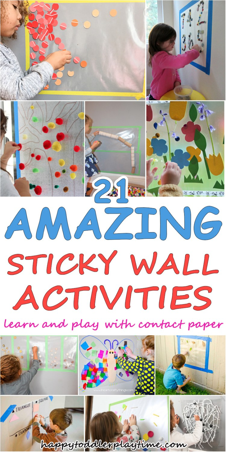 lots of sticky wall ideas for toddlers and preschoolers