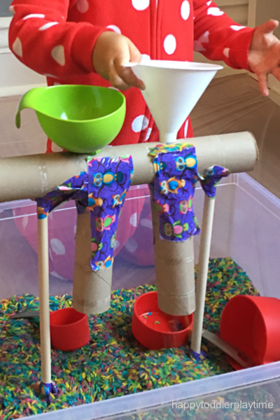 rice sensory bin for toddlers and preschoolers