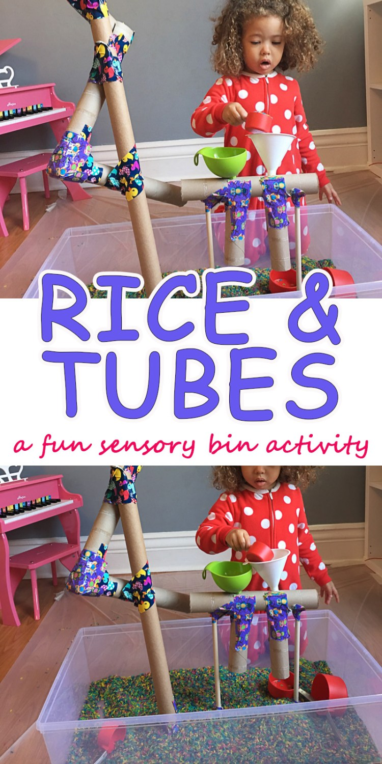 Coloured rice sensory bin