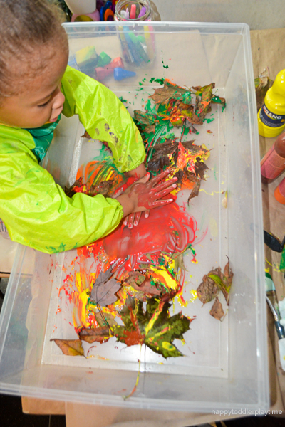 fall paint sensory bin for toddlers and preschoolers