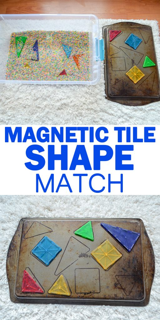 magnetic tile shape matching toddler and preschooler activity