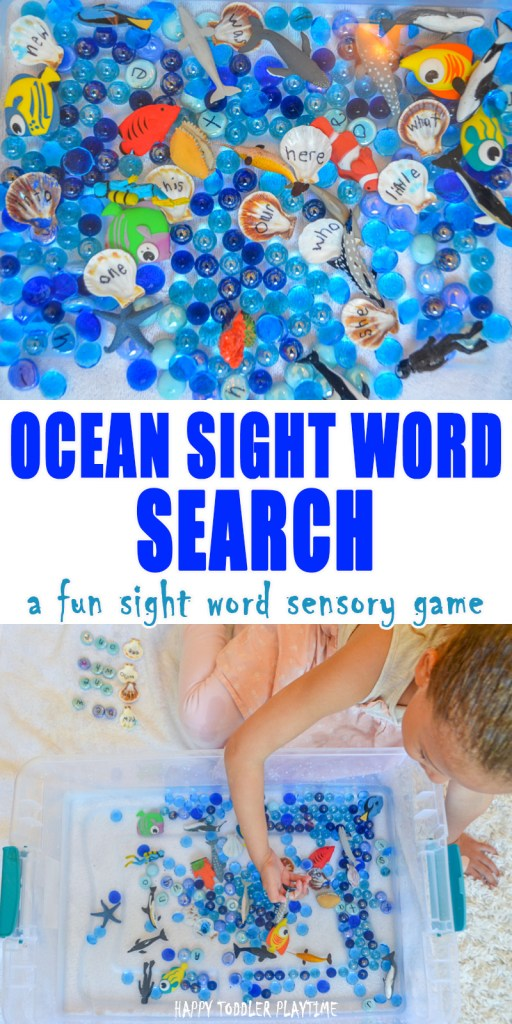 Ocean Search & Sensory Bin for Preschoolers and Kindergartners.