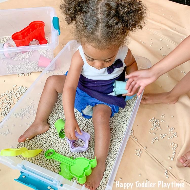 Bean Beach Sensory Bin for toddlers and preschooler