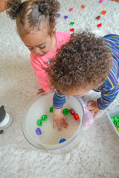 Salad Spinner toddler activity