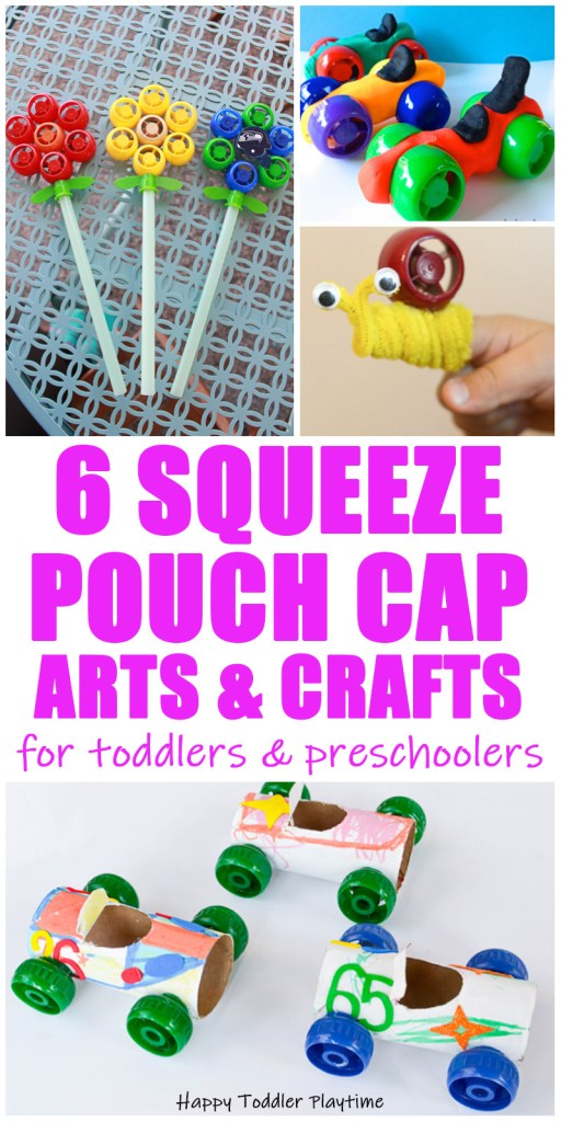 30+ Squeeze Pouch Cap Arts and Crafts for toddlers and preschoolers