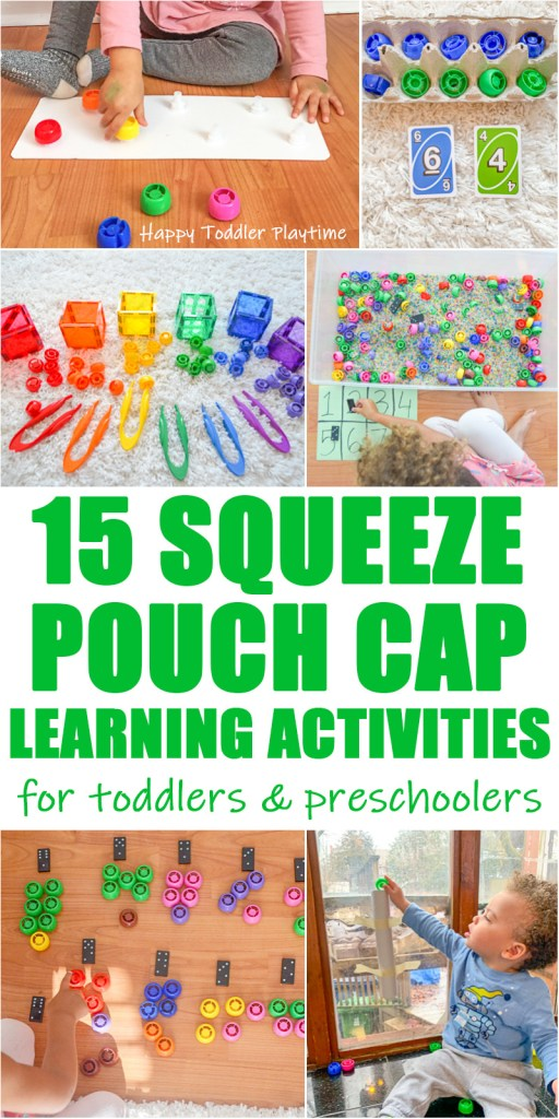 30+ Squeeze Pouch Cap Learning Activities for toddlers and preschoolers