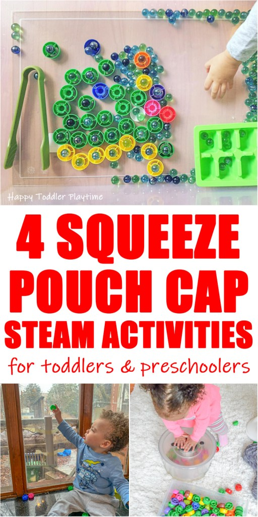 30+ Squeeze Pouch Cap STEAM Activities for toddlers and preschoolers