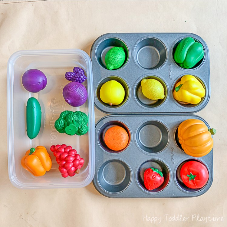 Muffin Tin Vegetable Sorting babies and toddlers