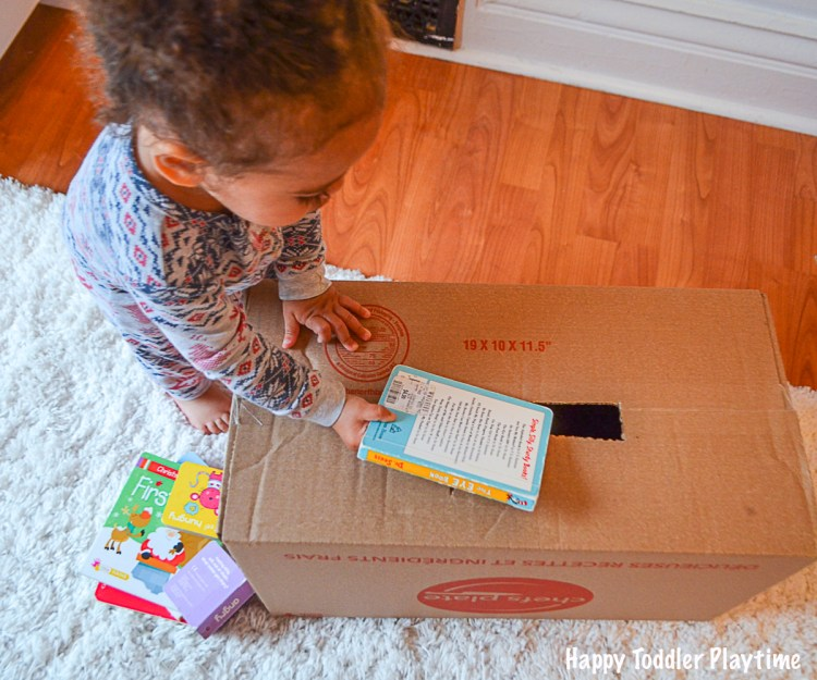 Book drop toddler activity