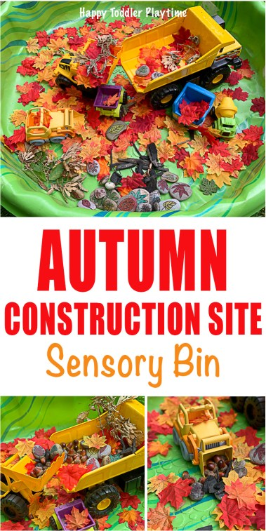 a fun sensory bin for toddlers and preschoolers for Autumn