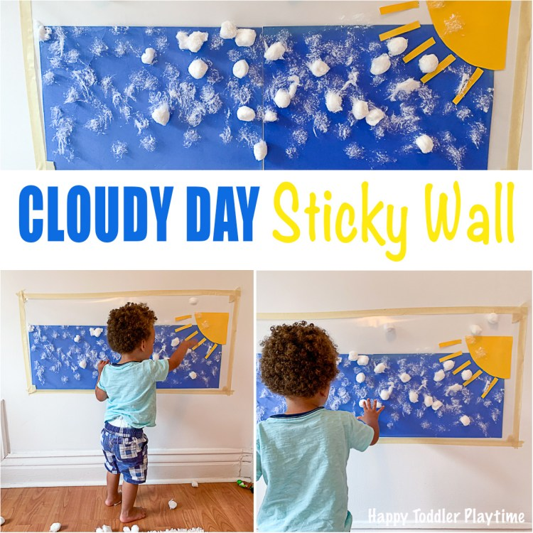 toddlers sticky cotton ball clouds on contact paper sky