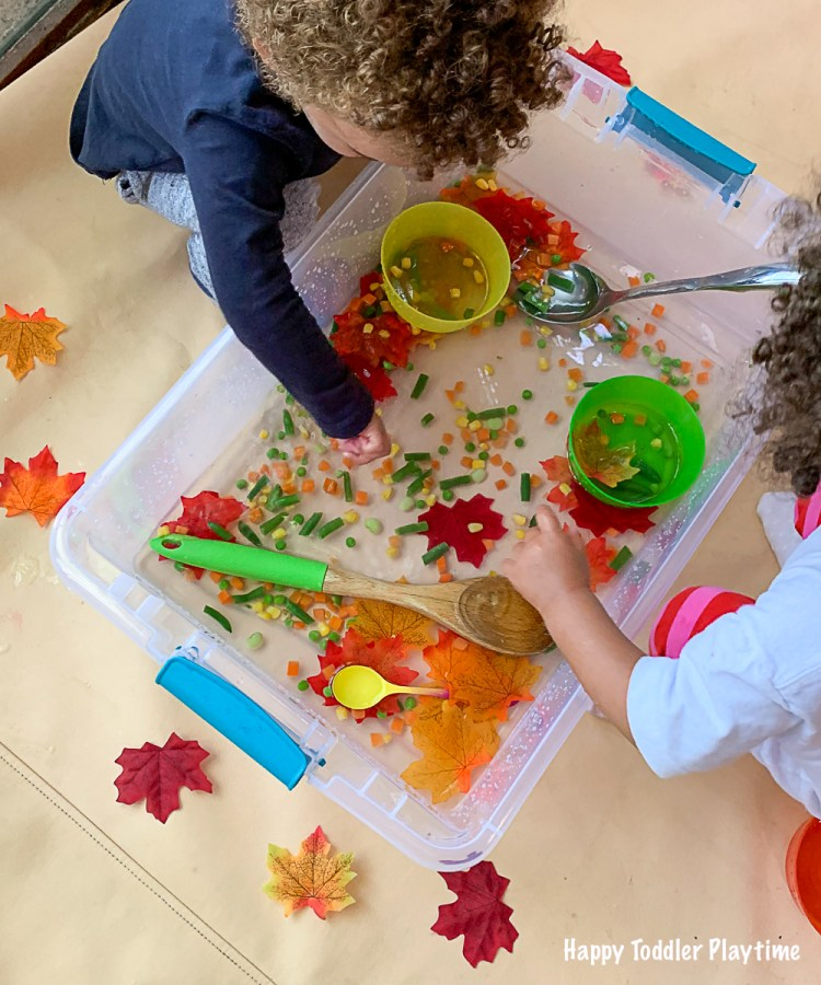 a fun and colourful sensory bin for toddlers and preschooler for this fall