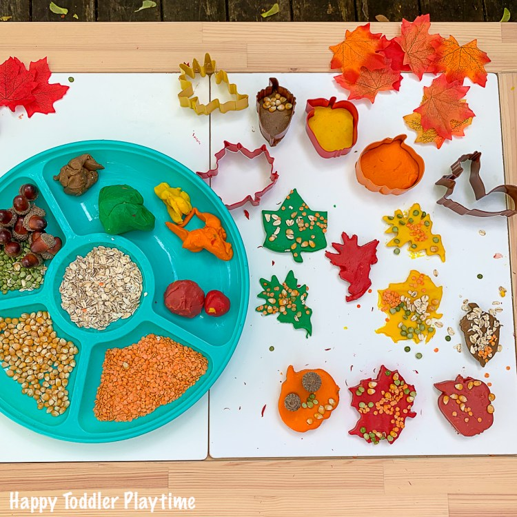 Fall playdough invitation to create for toddlers and preschoolers