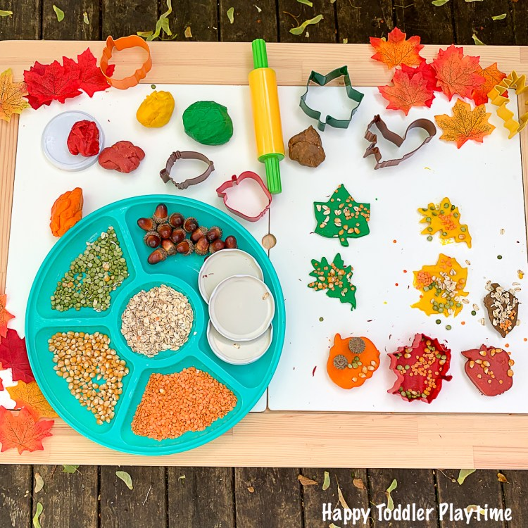 Textured autumn play dough invitation for kids