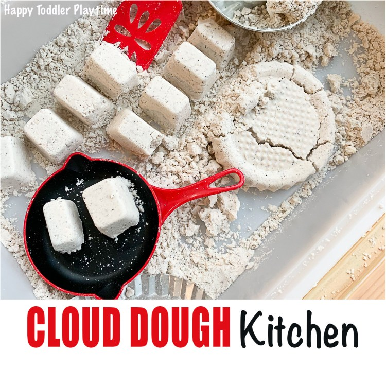 Cloud dough kitchen sensory bin for toddlers and preschoolers